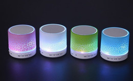Wholesale Wireless Audio Optical - A9 bright optical crack multicolored wireless portable bluetooth speakers plug in the low acoustic cell phone outdoor mini sound by dhl