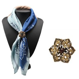 Wholesale Scarf Stoned - Wholesale- 2016 Fashion Rhinestone Brooches Pins Opal Stone Flower Scarf Clips Crystal Three Buckle Scarf Clips for Women Girls Gifts