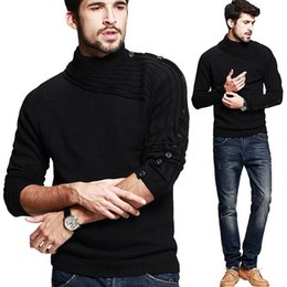 Wholesale Cotton Wool Turtlenecks - Hot Mens Pullovers Sweaters Turtleneck Solid Pullover Men Clothing Slim Fit Sweater Vestidos Pull Homme sweaters free shipping