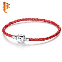 Wholesale marked beads - BELAWANG Red Woven Leather Bracelet with Silver Clasp Bead 17-21cm Fit Original Charm Bracelets&Bangles Jewelry DIY Marking Wholesale