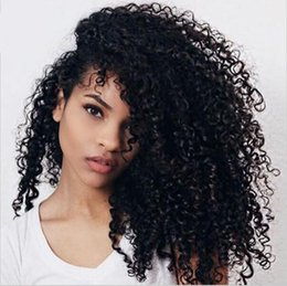 Wholesale Curly Deep Hairstyles - New Arrival Brazilian Virgin Remy Human Hair Deep Wave Curly African American Glueless Full Lace Wig Front Lace Wig For Black Women