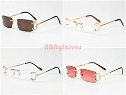 Wholesale Frameless Spectacles - Lunettes Gafas De Sol 2017 Brand Designer Rimless Spectacle Sunglasses for womens mens Fashion Big Gold Metal Frames Buffalo Sun Glasses