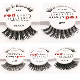 Wholesale New Hair Styling Tools - 12pcs lot 10 styles RED CHERRY False Eyelashes Fake Eye Lashes New Package long Makeup Beauty Tools Eyelash Extension
