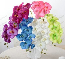 Wholesale Purple Butterfly Wedding - Artificial Butterfly Orchid Silk Flower Bouquet Phalaenopsis Wedding Home Decor Fashion DIY Living Room Art Decoration GLO
