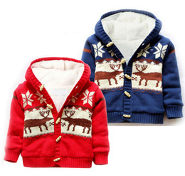 Wholesale Kids Christmas Cardigan - Unisex Baby Button-up Cotton Coat Deer Christmas Cardigan Sweater Kids Boys Sweater Baby Cardigan Girls Sweaters Hoodie 2 colors LA322