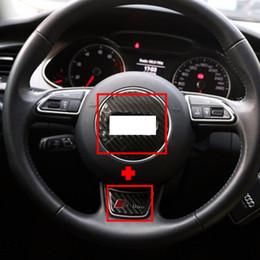 Wholesale Carbon Fiber Steering Wheels - Car Audi Steering Wheel Carbon Fiber Cover Sticker Decoration for A3 A4L A1 A5 A7 Q3