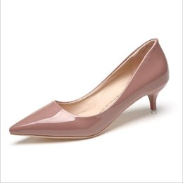 Wholesale High Heels 5cm - Women Pink Working High Heels 3-5CM Summer Style Women Shoes High Heels Wedding Shoes Pumps Black Nude Shoes Heels