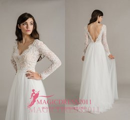 Wholesale Bridal Wedding Collection - Sally Eagle 2017 Collection Wedding Dresses with Long Lace Sleeves A-Line Deep V-Neck Court Train Beach Vintage Garden Bridal Gowns