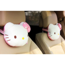 Wholesale Neck Support Pillow Cute - HOT Hello Kitty Accessories Car Headrest Pillow Cute KT Pink Auto Safety Seat Rest Support Pillows PP Cotton Car Neck Cushion