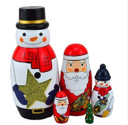 Wholesale Paint Craft Set - Christmas Matryoshka Nesting Dolls Santa Snowman Nativity Handmade Painting Artwork Craft Decoration Gift Set of 5