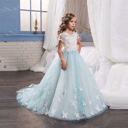 Wholesale Girls Pageant Dreses - Charming flower girl dreses,Princess Pageant Formal Party Ball Gown,Children Prom Dress,Weddings Bridesmaid Lace Dress TZ07