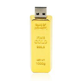 Wholesale Real Capacity Flash Drive - HanDisk 100% Real capacity Metal Gold Brick Flash Drive 128MB 1 2 4 16 32 64 128gb Usb Pen Drive Portable Hard Drive Memory stick EU038