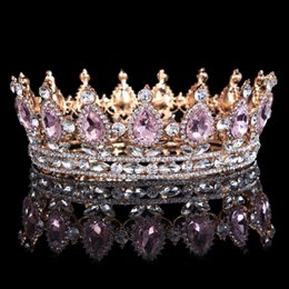 Wholesale Gold Tiaras For Sale - Hot Sale New Fashion Elegant Pink Crystal Bridal Crown Classic Gold Tiaras For Women Wedding Hair Jewelry Accessories