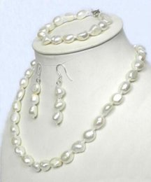 Wholesale White Baroque Pearl Earrings - Real 10-12mm Natural Baroque White Akoya Pearl Necklace Bracelet + Earrings 18 ""