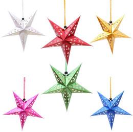 Estrelas papel de natal on-line-Natal Laser Paper Star Decoração de Natal Pendurado Dobrável Handmade 3D Decoração Da Árvore de Natal 6 cores 10 pçs / lote