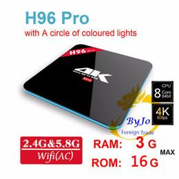 H96 Pro 2.4G 5 GHz Wi-fi caixa de 4 Amlogic S912 Octa Núcleo 2 3G DDR3 opção 16 Flash Android 7.1 BT4.0 caixa de tv Android HD s912 caixa de tv de