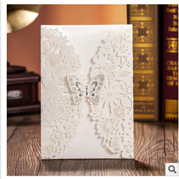 Wholesale Elegant Wedding Invitations Butterfly - Wholesale- 2016 hot sale fashion laser cut wedding invitations cards with envelope,elegant personalized wedding fold cards with butterfly