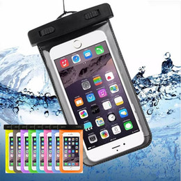 Wholesale Waterproof Bag Silicone - Waterproof Case for iPhone X 8 7 6S Plus Dry Bag for Samsung Note8 S8 S7 Universal WaterProof Phone Case for Diving Swimming