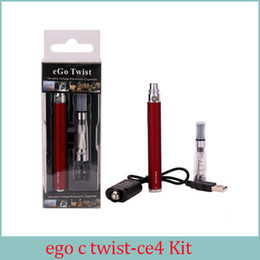 Wholesale Ego C Twist Atomizers - eGo-c Twist blister Kits E CIG 1.6ml Ego CE4 atomizer Ego c Twist Battery e cigarette 1100mah 900mah 650mah adjustable Voltage 3.2V to 4.8V