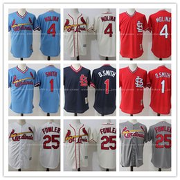 Wholesale Men s St Louis Cardinals Ozzie Smith Jersey Yadier Molina jerseys Stitched Dexter Fowler Jersey Throwback Replica Baseball Jersey