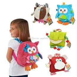 Wholesale Plush Animal Owl - SOZZY 10inch 25cm children schoolbags kindergarten cartoon Cows owl monkey Backpacks lovely animal baby plush bag C1810