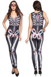 Wholesale Sexy Adult Jumpsuit - New sexy Adult Skeleton Skull Dead Day Halloween Costume For Women S8854 Female Singer Costume Dance Clothes Catsuit Jumpsuit Vest One Piece