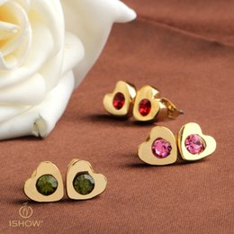 Wholesale Cz Ear Rings - Band New heart Wedding Stud Earring gold plated CZ Simulated Diamonds Engagement Beautiful Jewelry Crystal Ear Rings