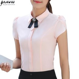 Wholesale formal work clothes - New women clothing short sleeve shirt OL work wear elegant bow slim all-match chiffon blouse office Formal plus size female tops