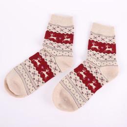Wholesale Brown Filler - Wholesale- Winter Women Thick Socks Christmas Gift Snowflake Deer Women Wool Socks Warm Winter Novelty Sock Filler Xmas Gift