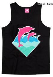 Wholesale Sexy Man Handsome - Wholesale- 2017 new style casual hip hop o-neck 100% cotton pink dolphin men's tank tops handsome for men vest plus size XXXL streetwear