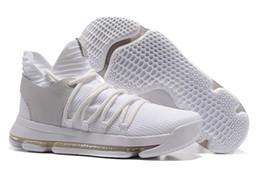 Wholesale Men Kd Shoe Cheap - Still KD 10 Chrome White Silver Mens Basketball Shoes Men 2017 Cheap KD10 X Pure Platinum Kevin Durant Sports Sneakers
