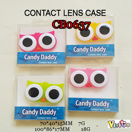 Wholesale Clean Contact Case - CB0637 colorful big eye owl contact lens case PVC packing small lenses box MOQ from 5pcs