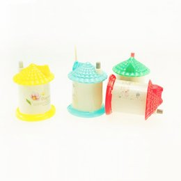 Wholesale Pocket Toothpick - Wholesale- Automatic toothpick holder pocket fashion small portable house shaped Romantic creative toothpick box Free Ship