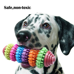 Wholesale pet toy wholesale - Teeth Gums Chew Gear Toy Colorful Pet Dog Puppy Dental Teething Toy Healthy Non-Toxic Pet Puppy Dog Squeak Rubber Ball Dog Toys