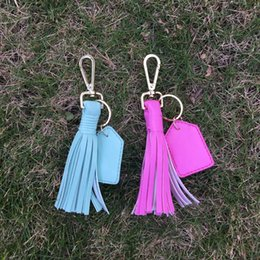 Wholesale Wholesale Keychain Fobs - Leather Tassle Keychain Tassel Key Fob With Bag Hook Bag Charm with One PU Tag for Monogramming With 7 Colors Available DOM106427