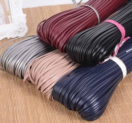 Wholesale flat leather string - Free Delivery 3mm Flat Faux Suede Korean Imitation leather string Rope Thread Lace DIY Clothing Accesories DIY handmade raw materials