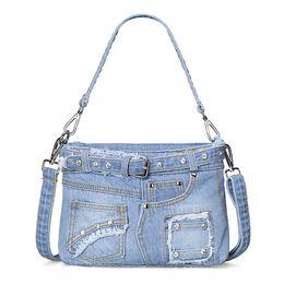 Wholesale Cloth Cross Body Bags Women - 2017 Fashion blue genuine denim cloth handbag designer diamond summer shoulder bags small crossbody bags for women sac pochette femme