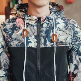 Wholesale Korean Male Style - Wholesale- Korean Style Men Jakcet Coat Floral Print Hooded Windbreaker Jackets Male 2017 Spring Summer Patchwork Casual Mens Jackets 3XL