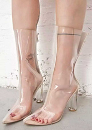 Wholesale Boots Celebrities - Celebrity Perspex Transparent PVC Women Boots Plastic Clear Kim Kardashian Style Boots Point Toe Block Heels Clear High Heel shoes