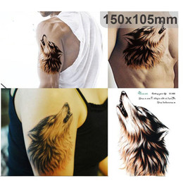 Wholesale Tattoos Designs Sketches - Large 3D Sketch Horrible Brown Howl Wolf Head Designs Cool Chest Body Art Temporary Tattoo Stickers Fake Big Tattoos