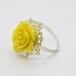 Wholesale Napkin Holders For Table Decoration - Wholesale- 10pcs Lot Yellow Rose Decorative Silver Napkin Ring Serviette Holder for Wedding Party Dinner Table Decoration Accessories