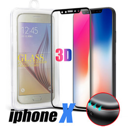 Wholesale Note Glasses - For iPhone X Samsung Note 8 Full Cover Screen Protector Tempered Glass For S8 Cover Whole Screen 3D Curve Screen Protector With Retail Box