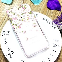 Wholesale Cherry Phones - Ultra Thin Slim Phone Case TPU Transparent Back Cover Cherry Blossom Pattern For iPhone 6 6s Plus OPP BAG
