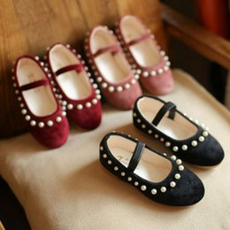 Wholesale Wholesale Crystal Baby Shoes - Preppy Style Fashion Girls pearl crystal princess Dress Shoes Children Spring Autumn Toddlers baby Kids sweet Footwear Casual Shoes A252