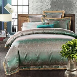 Wholesale Luxury Silk Duvet Covers - Europe Style 4 6pcs Green Jacquard Satin bedding set king queen Luxury Tribute Silk quilt duvet cover bed linen bedclothes set home textile