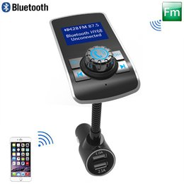 Wholesale Iphone Bluetooth Transmitter - 2017 New Bluetooth Car Kit Handsfree FM Transmitter MP3 Music Player 1.44 Inch Larger Screen 5V 3.1A Dual USB Car Charger