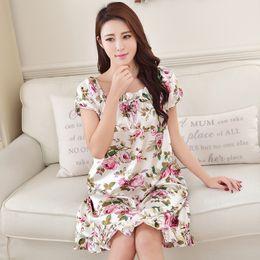 Wholesale ladies nightwear hot - Wholesale- Ladies Nightgown Sleepwear Fashion Small Flower Women Nightgowns Printed,Hot Sale Plus Size 3XL Silk Nightwear For Summer,Autumn