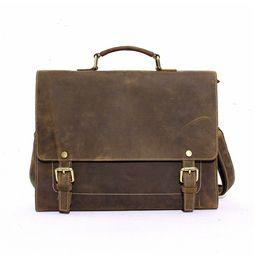 Wholesale Envelope Retro - Crazy Horse Leather Portable Briefcase Retro Cowboy Handbags Handmade Men's Tote Bags with Long Shoulder Strap CH700027