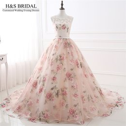 Wholesale Organza Draping Fabric - Sweetheart Printed Fabric prom dresses long Lace Applique Pearls Princess Evening Dresses Top Lace Sheer Neck With Straps evening gowns