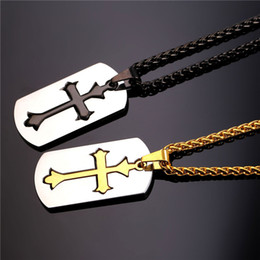 Wholesale Mens Titanium Cross Pendant - Fashion Stainless Steel Cross Pendant Necklaces Mens Jewellery Hip Hop Black Popcorn Chain Gold Plated Dog Tag Charm Necklace Men Jewelry